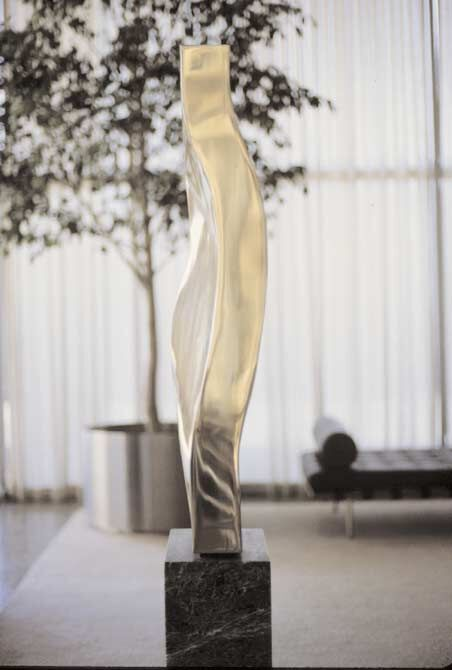 Earth Form, 1979, Bronze and Greek marble, 188 x 36.8 x 22.8 cm.  Collection of the Esplanade Apartments, 910 North Lake Shore Drive (Mies van der Rohe bldg.), Chicago, IL, USA, 1979.