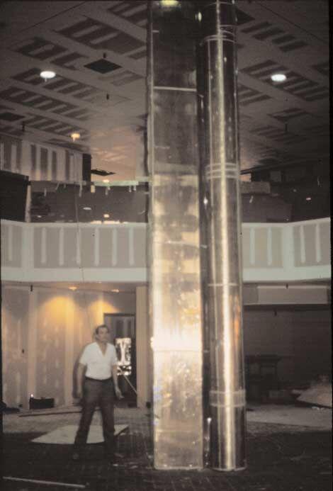 Cylinder in a Prism, 1980, bronze, 807.8 x 122 x 132 cm. Collection of the Vanderbilt Medical Center, Vanderbilt University Hospital Building, Nashville, TN, USA, 1980.