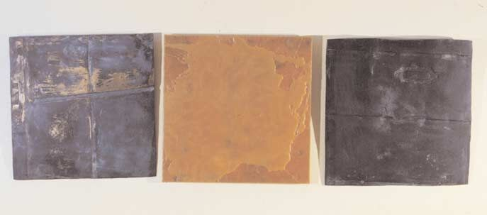 Gesture I (three reliefs), 1980, bronze and wax 61 x 61 x 5 cm (each). Collection of the artist