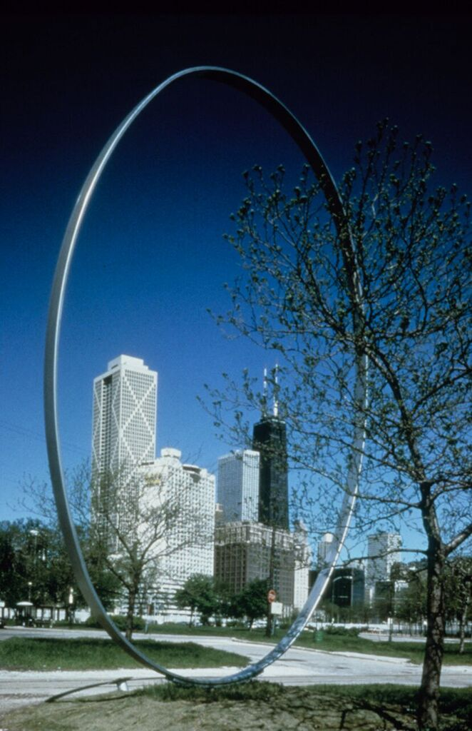 1987–1991, Steel, 914.4 x 609.6 x 25.4 cm. On loan from the artist to the Chicago Park District, 1987–, work missing as of 1991.