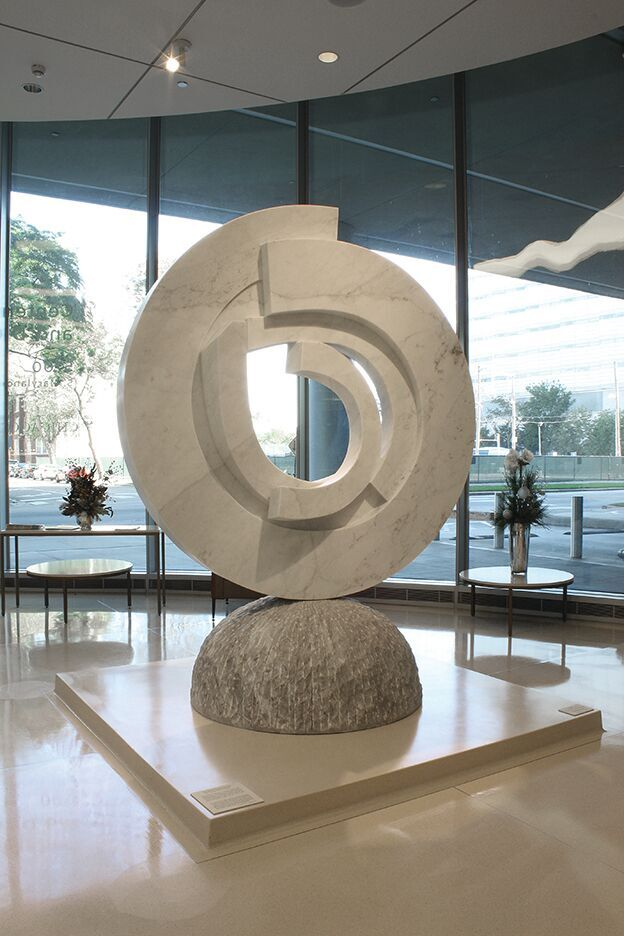 Caring, 2015, Statuario Carrara and Bardiglietto marble, 275 x 195 x 121 cm.  Collection of the University of Chicago Medicine, Center for Care and Discovery, Chicago, IL, USA, 2015.
