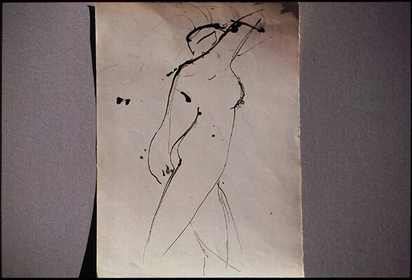 Figura I (study), 1958, India ink on paper, 35 x 25 cm. Collection of the artist.