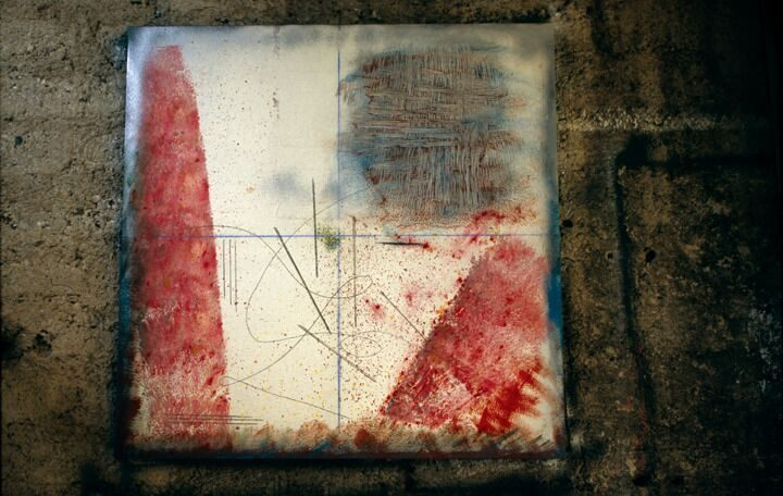 Gestualità II, 2005, mixed media on wood, 100 x 100 cm. Collection of the artist.