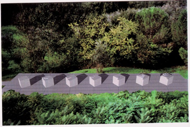 Cristalli in formazione—Artist's Rendering, (seven elements), 1998–2002, Architectural rendering (general view). Collection of the artist