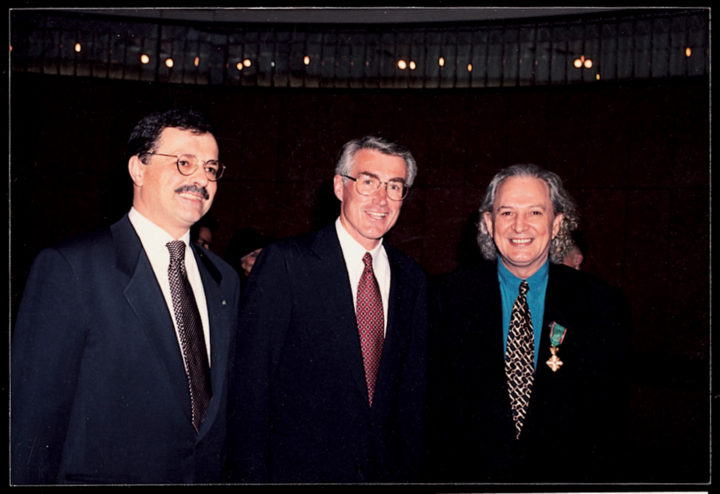 Ferrari receives the Officer Order of Merit of the Italian Republic. Stefano Cacciaguerra Ranghieri, consul general of Italy in Chicago; Jim Edgar, governor of the state of Illinois; and Ferrari