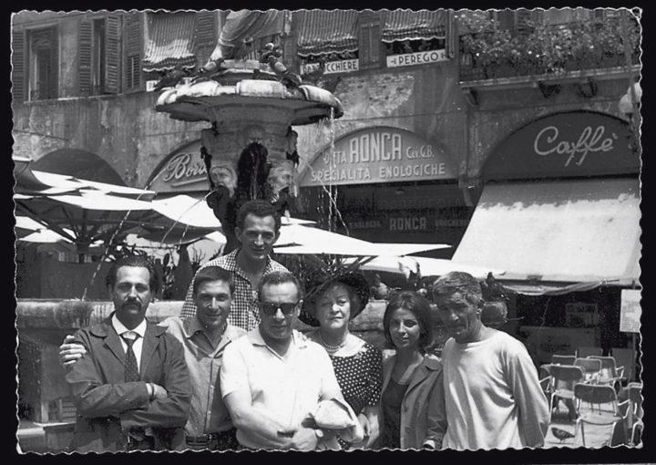 Ferrari with artists Atanas Neykov; Eugenio Degani; Renato Guttuso with wife, Mimi; Andrè; and Martinelli