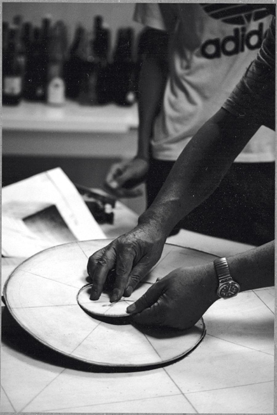 Ferrari creating wood templates for the creation of Cristalli in formazione
