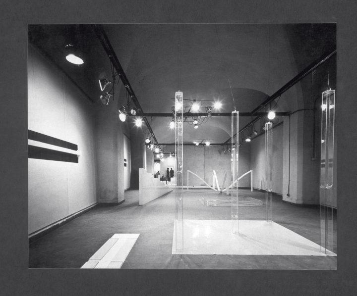 Virginio Ferrari: Gocce d'amore pop exhibition, general views. Salone dei Contrafforti in Pilotta, Università di Parma, Italy, 1970. Personal photographs (two images).