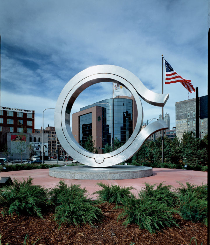 Being Born, 1983, Stainless steel, granite, and water, 624.9 x 701 x 548.6 cm.  City of Chicago Public Art Collection, Donald J.DePorter Gateway, intersection of Ontario, Ohio and Orleans streets, Chicago, IL, 1996. Relocated from the corner of State and Washington streets, Chicago, IL, USA, 1983-96.