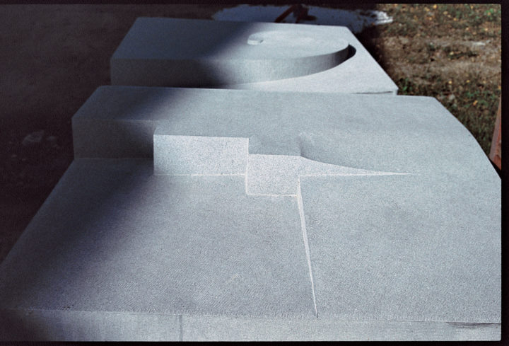 Cristalli in formazione II (seven elements), 1998–2002, Pietra Serena, 100 x 100 x 100 cm (each).  Collection of the Town of Panicale, Panicale, Italy, 2002.