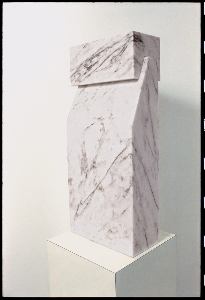 Curious, 1979, rosa aurora marble, 71 x 40.5 x 17.8 cm. Collection of the artist