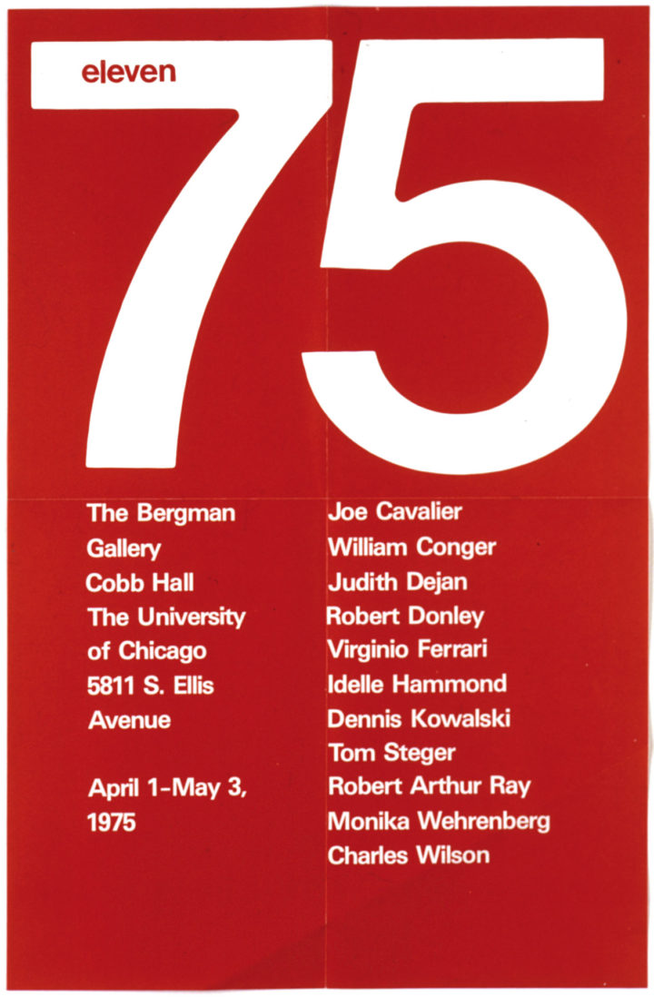 Eleven 75, the Bergman Gallery, University of Chicago, IL, USA, 1975. Group exhibition poster.