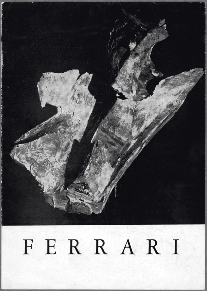 Ferrari, Galleria del Girasole, Udine, Italy, 1964. Solo exhibition catalog (cover features Volo tragico, 1964).