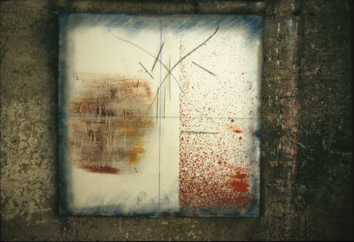 Gestualità I, 2005, mixed media on wood, 100 x 100 cm. Collection of the artist.