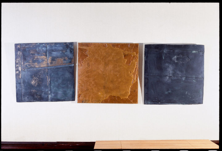 Gesture I (three reliefs), 1980, bronze and wax, 61 x 61 x 5 cm (each). Collection of the artist