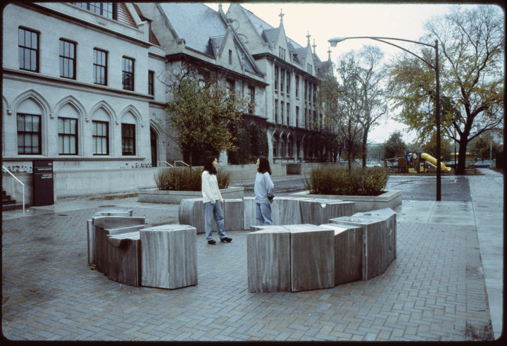 Interlocking, 1993, stainless steel, 71.2 x 518.2 x 518.2 cm. Collection of the University of Chicago Laboratory Schools, Chicago, IL, USA, 1993