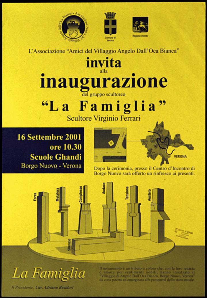 La famiglia, city of Verona, Borgo Nuovo (Villagio Angelo dall'Oca Bianca), Verona, Italy, 2001. Sculpture dedication poster (La famiglia, 1995–2001).