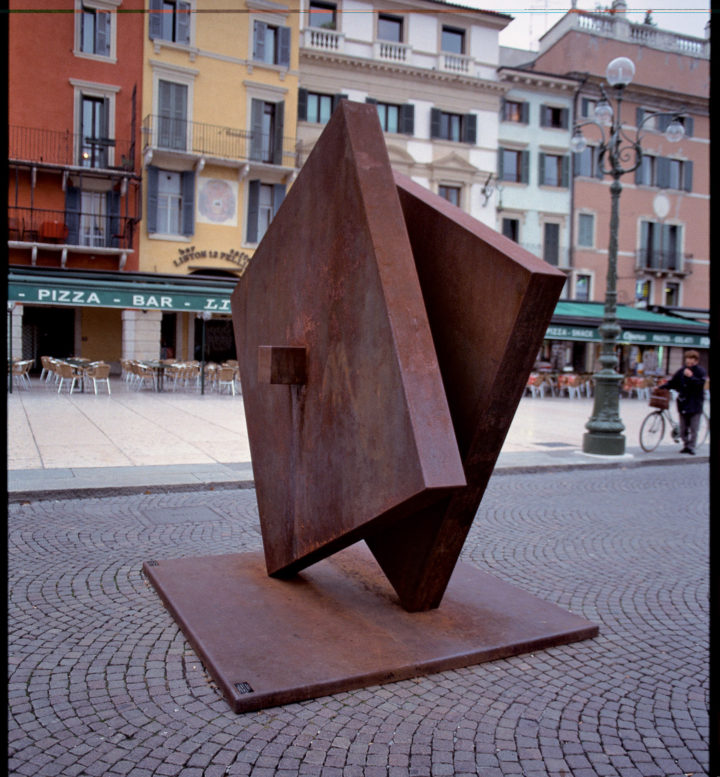 Percezione, or Prism into Two Elements, 1979-2003, Corten Steel, 250 x 250 x 200 cm.  Collection of the Universita degli Studi di Parma, CSAC, Parma, Italy, 2009.