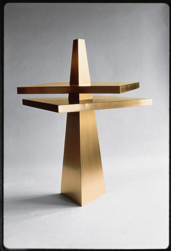 Pyramid into Two Squares, 1980, Bronze, 155 x 130 x 130 cm. Collection of the Università degli Studi di Parma, Centro Studi e Archivio della Comunicazione (CSAC), Parma, Italy, 2009.
