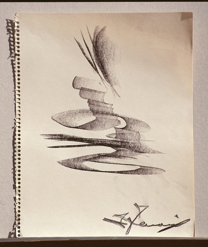 Studio I, 1961, graphite on paper, 28 x 22 cm. Collection of the artist.