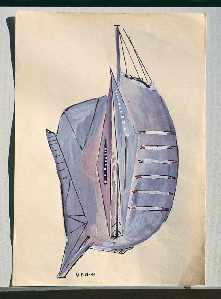 Studio II, 1961, watercolor on paper, 33 x 23 cm. Collection of the artist.