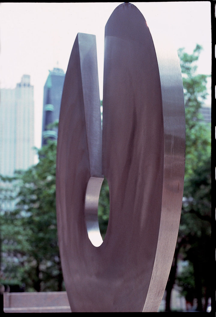 Umanità, 1987, Stainless Steel & Granite, 200.7 x 76.2 x 17.8 cm.  Collection of the Newberry Library, Chicago, IL, USA, 1987.