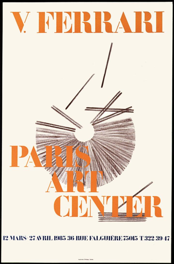 Virginio Ferrari, Paris Art Center, Paris, France, 1985. Solo exhibition poster (features Cerchio in formazione, 1985).