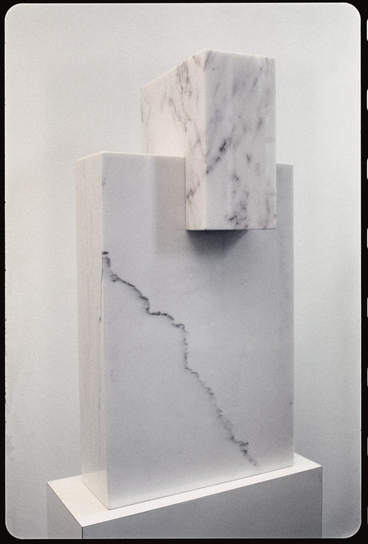 Wonder, 1979, Bianco Carrara & Rosa Aurora Marble, 78.8 x 40.6 x 31.1 cm. Collection of Ed Dickson, IL. © Virginio Ferrari